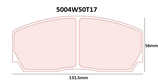 PLAQUETTES DE FREIN CARBONE LORRAINE ASTON MARTIN AVANT / MITSUBISHI LANCER EVO AVANT / RENAULT CLIO 2 S1600 AVANT / VW GOLF 4 5 6 GTI AVANT 5004W50T17 RC6