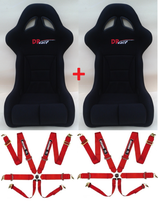 PACK 2 SIEGES BAQUET DP RACE RACING PLUS FIA 2015 + 2 HARNAIS 6 POINTS PRO SPONSOR FIA 2015