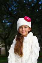 White & Fuchsia Flower Wool Gloria Beanie /Hat