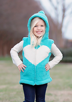 Turquoise & Natural Heart Karin Knit Zip Hoodie VEST