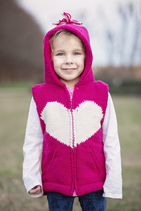 Cherry & Natural Heart Karin Knit Zip Hoodie VEST
