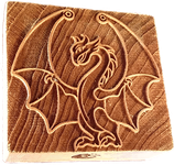 """Exhibitionistic Dragon"" printing block"