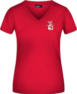 Rotes KAMIPO T-Shirt V-neck Damen