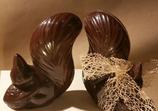 Le petit écureuil au chocolat noir avec fritures de Noël