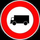 """B8 """"Accès interdit aux véhicules affectés au transport de marchandises"""""""