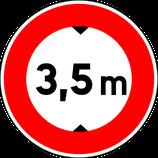 """B12* """"Accès interdit aux véhicules ayant une hauteur, chargement compris, supérieure à celle indiquée"""""""