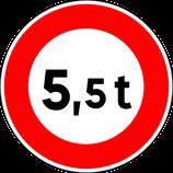 """B13* """"Interdiction d'accès aux véhicules ayant un poids total autorisé en charge ou un poids total roulant autorisé supérieur à celui indiqué"""""""