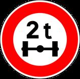 """B13a* """"Interdiction d'accès aux véhicules ayant un poids total par essieu supérieur à celui indiqué"""""""