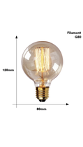Edison Filament G80 Bol Lamp Kooldraadlamp