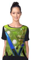Chiffon Bluse Golfbälle - grün-weiß-blau-schwarz
