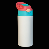 12oz Sublimation Straight Skinny Kids Cup Pink & Teal lid