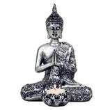 Buddha mit Teelicht silberfarben
