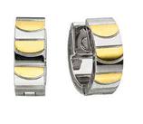 Boucles d'oreilles en acier inoxydable brillant mat Bicolore  (4522)