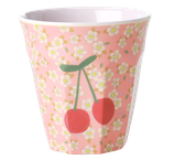 Rice - Melamine Cup Two Tone, Small Flowers and Cherry Print