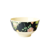 Rice -  Small Melamine Bowl Two Tone with Dark Rose Print