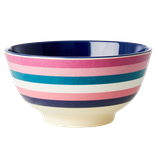 Rice - Melamine Bowl Two Tone with Stripe Print