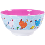 Rice - Melamine Bowl Two Tone, Hen Print