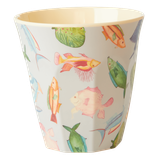 Rice - Melamine Cup Medium,  Fish Print