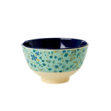 Rice - Small Melamine Bowl, Blue Floral Print