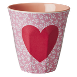 Rice - Melamine Cup Two Tone with Heart Print