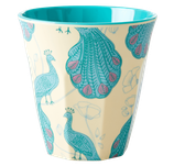 Rice - Melamine Cup Two Tone,  Peacock Print