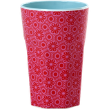 Rice - Melamine Two Tone Tall Cup, Red and Pink Marrakesh Print