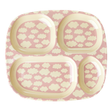 Rice - Melamine Kids 4 Room Plate, Cloud Print Pink