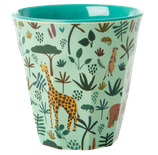 Rice - Medium Melamine Cup, Jungle Animals Print Green