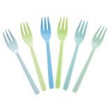 Rice - Melamine Cake Forks in Assorted Colors, Blue and Green - Bundle of 6