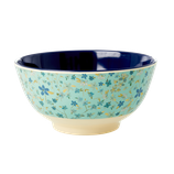 Rice - Medium Melamine Bowl, Blue Floral Print