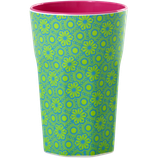 Rice - Melamine Two Tone Tall Cup, Green and Turquoise Marrakesh Print