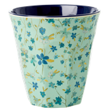 Rice - Medium Melamine Cup, Blue Floral Print