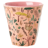 Rice - Medium Melamine Cup, Jungle Animals Print Coral