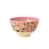 Rice - Small Melamine Bowl , Jungle Animal Print Coral