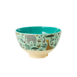 Rice - Small Melamine Bowl , Jungle Animal Print Green