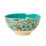Rice - Medium Melamine Bowl , Jungle Animal Print Green