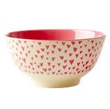 Rice - Melamine Bowl Two Tone with Small Hearts Print