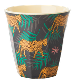 Rice - Melamine Cup Two Tone,  Leopard and Leaves Print