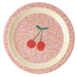Rice - Kids Melamine Lunch Plate, Small Flower and Cherry Print