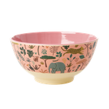 Rice - Medium Melamine Bowl , Jungle Animal Print Coral