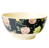 Rice - Melamine Bowl Two Tone with Dark Rose Print