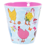 Rice - Melamine Cup Two Tone, Hen Print