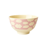 Rice -  Small Melamine Bowl Two Tone, Cloud Print Pink