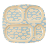 Rice - Melamine Kids 4 Room Plate, Cloud Print