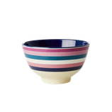 Rice -  Small Melamine Bowl Two Tone with Stripe Print