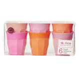 Rice - Small Melamine Curved Cup in 6 Assorted Pink and Orange Colors