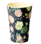 Rice - Tall Melamine Cup, Pink and Dark Rose Print