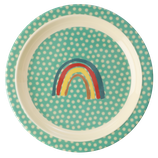 Rice - Kids Melamine Lunch Plate, Rainbow and Star Print