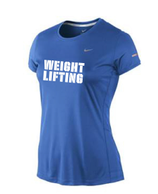 Women's Dri Fit Weightlifting Shirt - blau (grauer Aufdruck)