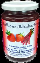450g Erdbeer - Rhabarber Konfitüre extra